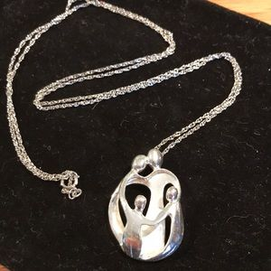"""Sterling silver family """"arms of love"""" necklace"""
